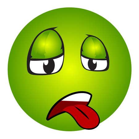 Zieke emoticon met uit tong