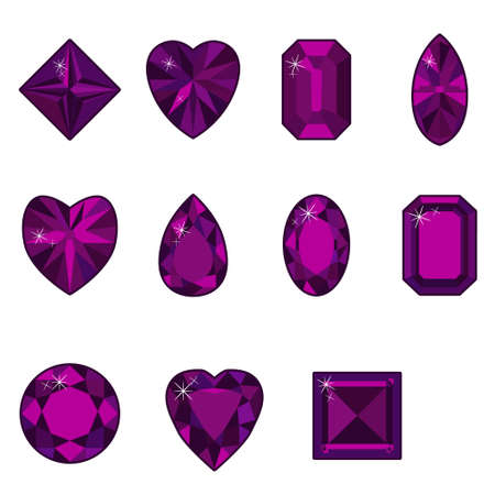 Vector set of diamonds of various shapes on a white background Illustration