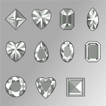 Vector set of diamonds of various shapes on a white background Ilustração