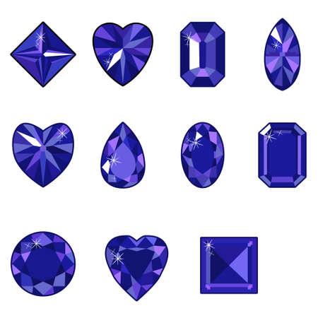 Vector set of diamonds of various shapes on a white background Ilustração