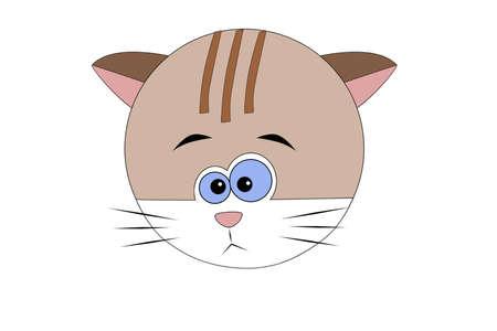Funny cartoon emotional cat