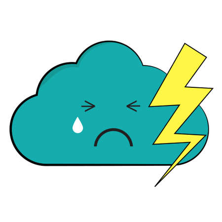 Illustration of cloud with lightning