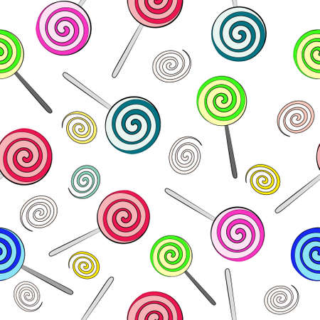 Seamless background of multi-colored lollipops