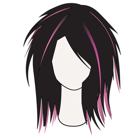 Silhouette of a female hair dress with multi-colored locks of hair Иллюстрация