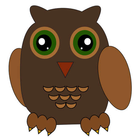 Illustration of a cartoon brown owl.