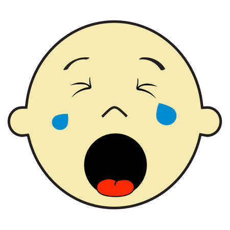 Vector illustration of a baby boy crying Çizim
