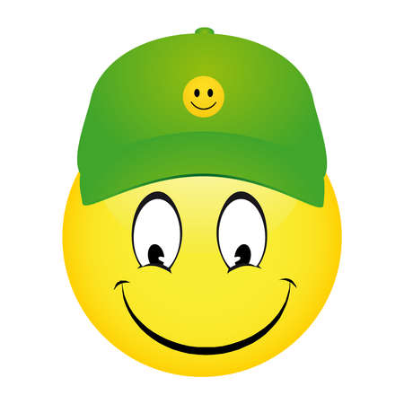 Vector illustration of Cartoon emoticon smiley wearing a cap and pointing