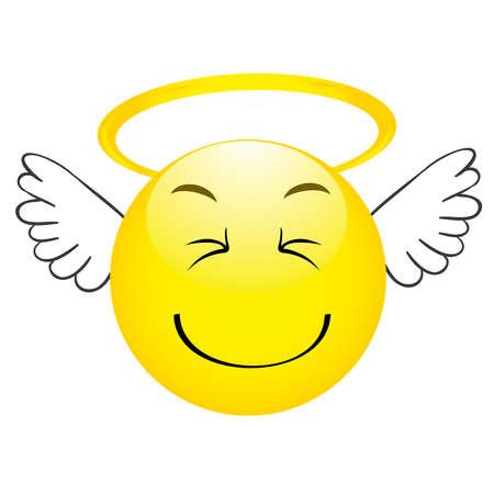 Cute angel emoticon with wings, emoji, smiley Иллюстрация