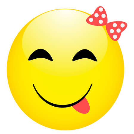 Smiling emoticon cute eyes. Happy girl face.