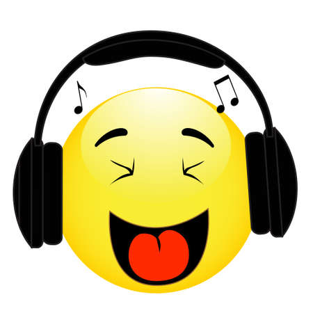 Emoticon with headphones on white background Иллюстрация