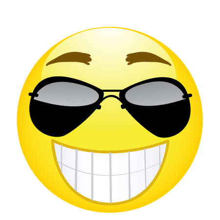 Happy emoji. Strong emotion. Vector illustration smile icon.