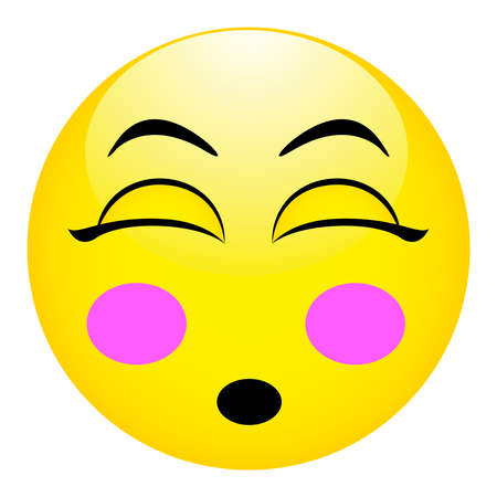 Confused emotional face of yellow smiley cartoon character.