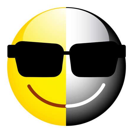 Smiley noir et blanc. Le symbole de la dualité, du secret