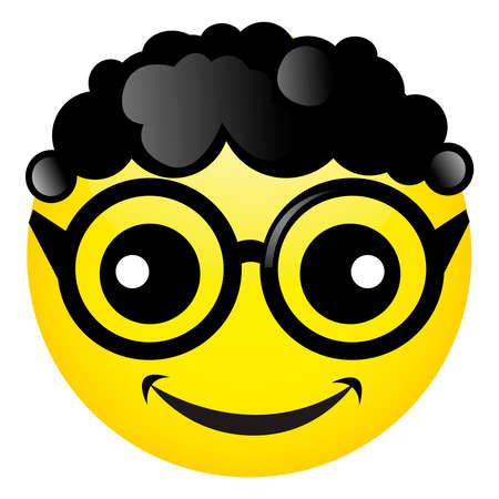 Smile with black curly hair and glasses. Vector illustrationon white background Иллюстрация