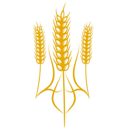 Ukrainian coat of arms. Concept. Logo with ears of wheat.