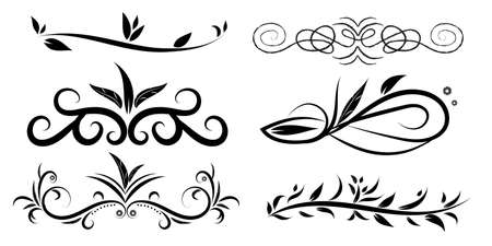 Collection of hand drawn decorative corner delimiters, template for greeting card, Иллюстрация