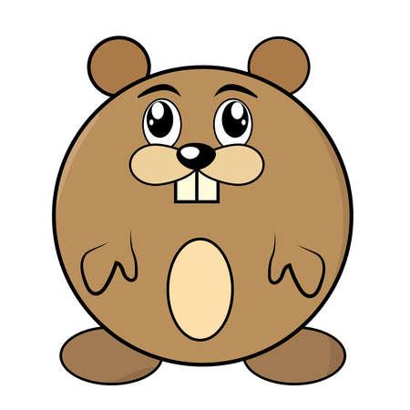 Cartoon animal, cute hamster on green backgrounds.Vector Illustration.