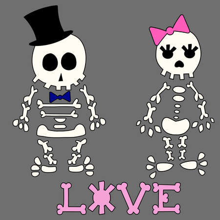 Funny postcard with cute skeletons.