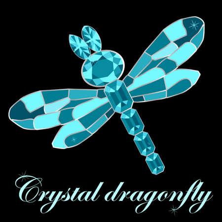 Dragonfly made of crystals. Elegant brooch vector illustration on black background