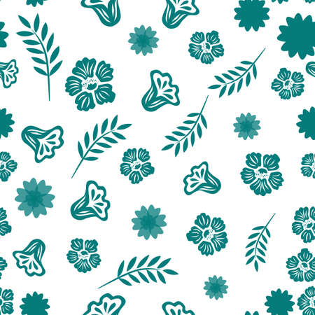 Seamless pattern from abstract flowers and elements on a white background.