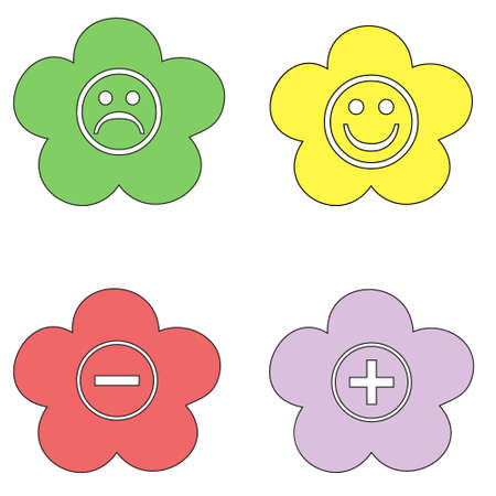 Vector flat icons for web design in the form of a flower. Red and green colors.