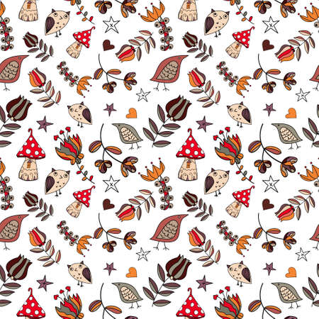 Vector floral seamless pattern. Lovely and funny elements and characters. eps10
