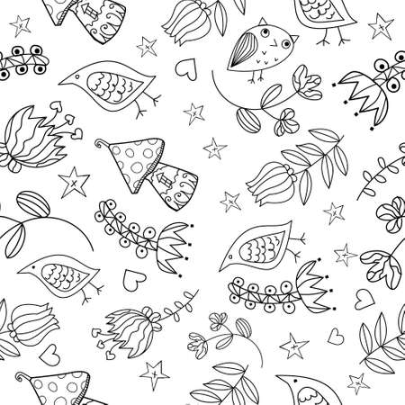 Vector floral seamless pattern. Lovely and funny elements and charactersVector floral seamless pattern. Lovely and funny elements and characters. eps10