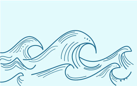 Blue water sea waves abstract vector background. Water wave curve background. A sketch drawn by hand.