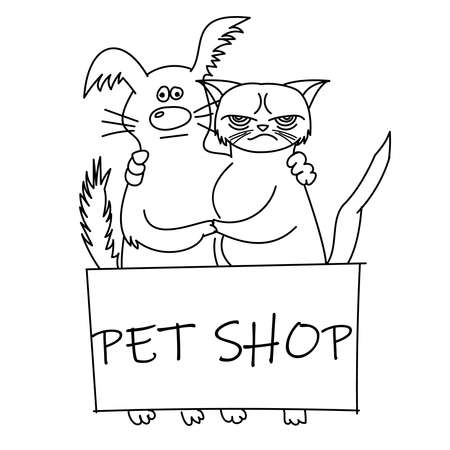 cute cat and dog. best friends. vector illustration