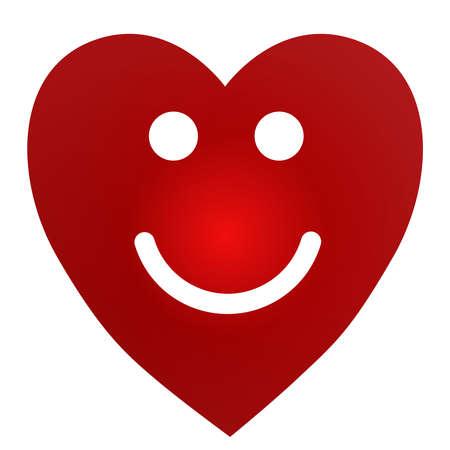 Cartoon Smiling Female Heart on white background