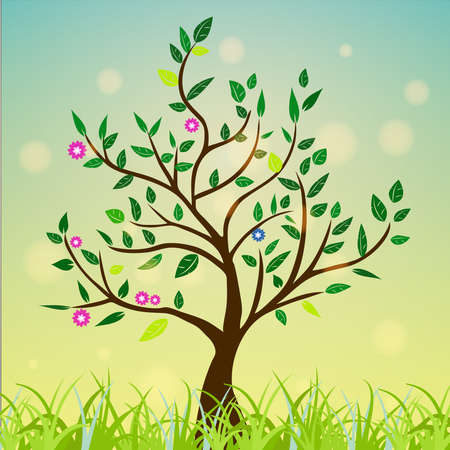 Abstract tree with green leaves, flowers on a colorful and sunny background. vector drawing