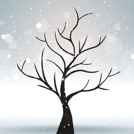 A tree against a winter and gray landscape with bright sun highlights. Vector illustration