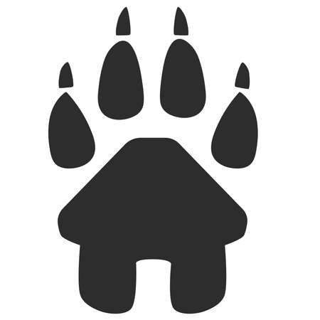 House icon and paw symbol inside. Vector illustration.