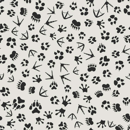 Animal tracks black and white background with seamless footprints of birds and mammals pattern. Wildlife backdrop or tracking and hunting theme design