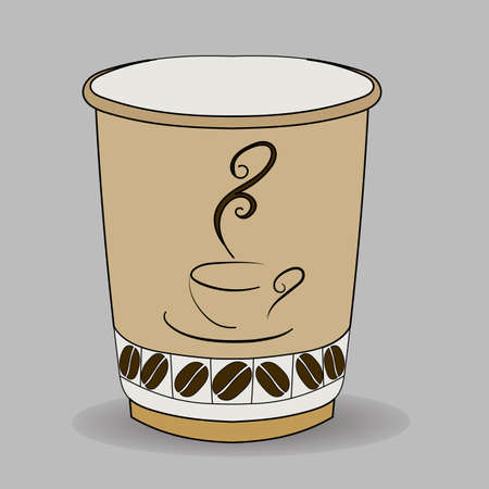 paper cup with a cup of coffee logo and grains at the bottom Фото со стока - 116977561