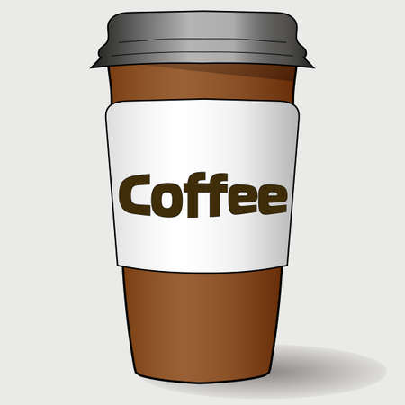 Cardboard realistic cup of coffee with the inscription. eps 10