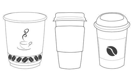 Linear silhouettes of cups of coffee in thin lines. eps 10