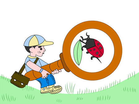 Cartoon boy exploring the world, with a huge magnifying glass. Funny ladybug inside Stock fotó