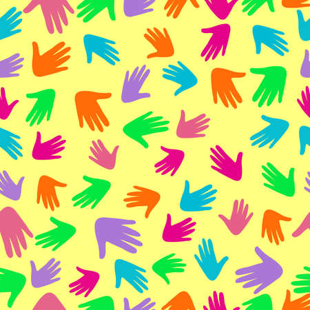 Colorful vector pattern with illustration of a people s hands with different skin color together. Race equality, diversity, tolerance illustration. Can be used for backgrounds or prints.