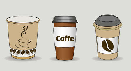 Set of vector illustration of coffee cups with cardboard sleeve. Full cup of coffee, latte, espresso, or cappuccino with foam on top. Фото со стока - 116977566