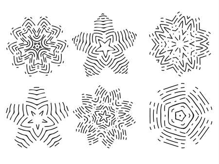Linear icon set of colors, shapes or snowflakes. Vector illustration eps 10
