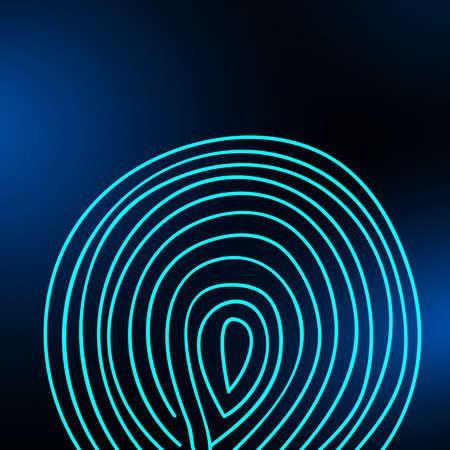 Huella digital sobre un fondo borroso. Ilustración vectorial eps 10