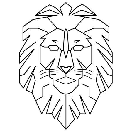 geometric lion king walking line art outline vector download