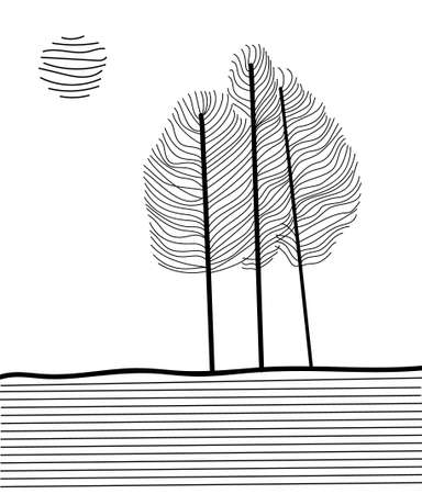 Trees in minimalism from delicate lines. Scandinavian style. vector illustration