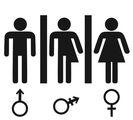 Gender icon. Man and Woman icon isolated minimal design. Toilet line icon, outline vector sign, linear style pictogram isolated on white. Vectores