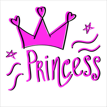 Above is the letter Princess pink with black. Vectores