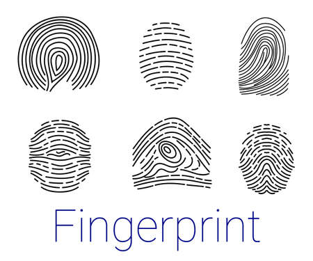 Set of various fingerprints loops, curls, patterns Vector illustration esp 10