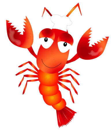 Vector illustration of Cute lobster cartoon character
