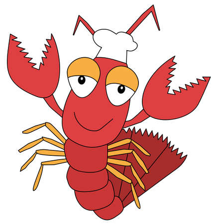 Funny cartoon lobster character in a cook hat. Vector illustration