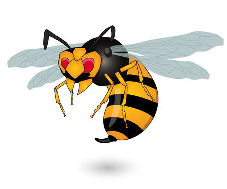 Cartoon bee mascot. Vector clip art illustration with simple gradients. All in a single layer. Ilustração